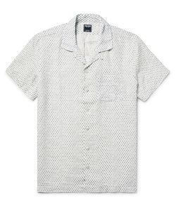 TODD SNYDER | Slim-Fit Camp-Collar Polka-Dot Slub-Linen Shirt