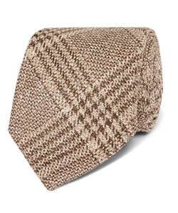 Kingsman | Drakes 8cm Checked Wool Silk And Linen-Blend Tie
