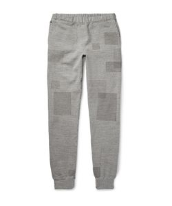 Remi Relief | Patchwork-Effect Loopback Cotton-Blend Jersey Sweatpants Gray