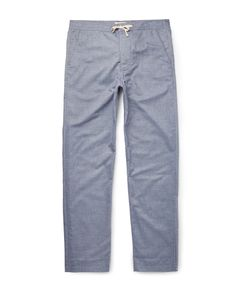 Oliver Spencer Loungewear | Lux Cotton-Chambray Lounge Trousers Blue