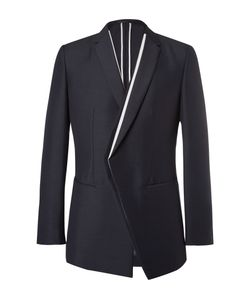 Kilgour | Navy Contrast-Trimmed Mohair And Wool-Blend Blazer Blue