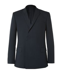 Kilgour | Navy Double-Breasted Wool-Crepe Blazer Blue