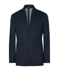 Kilgour | Navy Slim-Fit Stand-Collar Cotton Blazer Blue