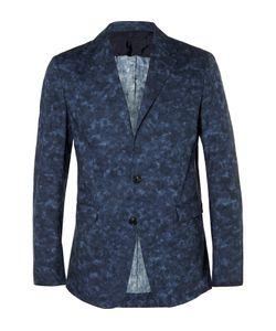 CASELY-HAYFORD | Blue Titus Mottled Cotton Suit Jacket Blue