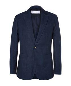 Private White V.C. | Blue Ecoseamreg Linen And Wool-Blend Hopsack Blazer Blue