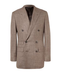Thom Sweeney   Brown Slim-Fit Double-Breasted Slub Wool Silk And Linen-Blend Blazer Brown