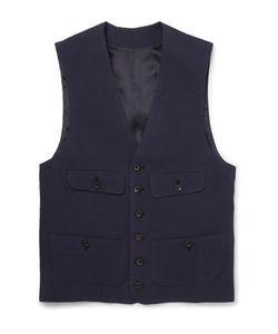 Thom Sweeney   Cotton-Seersucker Waistcoat Blue