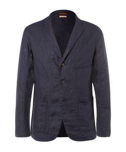 Kapital   Blue Slim-Fit Unstructured Linen Blazer Blue