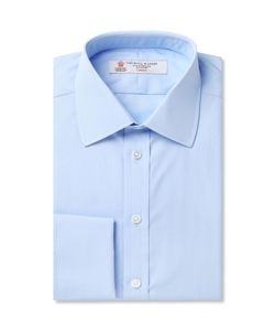 Turnbull & Asser | Blue Double-Cuff Cotton Shirt Blue