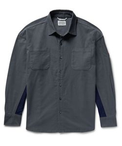 CAV EMPT | Panelled Cotton-Flannel Shirt Gray