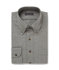 Thom Sweeney | Grey Slim-Fit Brushed-Cotton Shirt Gray