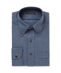 Thom Sweeney | Blue Slim-Fit Houndstooth Brushed-Cotton Shirt Blue