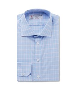 Turnbull & Asser | Blue Slim-Fit Checked Cotton Shirt Blue