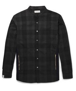 Marvy Jamoke | Beams Slim-Fit Grandad-Collar Plaid Cotton-Twill Shirt Black