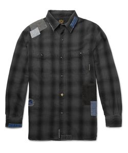 Orslow | Beams Slim-Fit Patchwork Cotton Shirt Gray