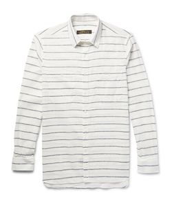 Freemans Sporting Club | Striped Linen And Cotton-Blend Shirt White