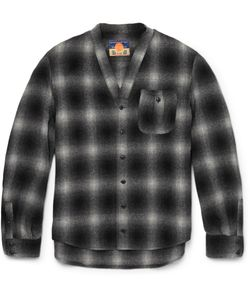 Blackmeans | Checked Wool-Blend Flannel Overshirt Black
