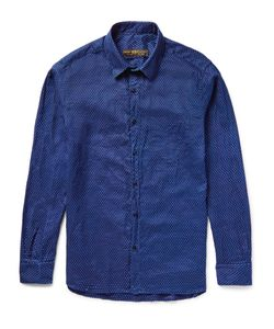 Freemans Sporting Club | Pin-Dot Indigo-Dyed Linen Shirt Blue