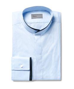 Kilgour | Blue Slim-Fit Contrast-Tipped Grandad-Collar Cotton Shirt Blue