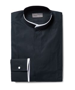 Kilgour | Midnight-Blue Slim-Fit Contrast-Tipped Grandad-Collar Cotton Shirt Blue