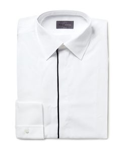 Kilgour | White Slim-Fit Contrast-Tipped Cotton Shirt White