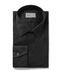 Kilgour | Black Slim-Fit Cotton-Jersey Shirt Black