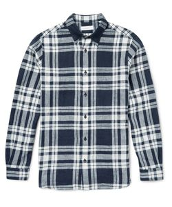 Several | Hatch Checked Linen Shirt Blue