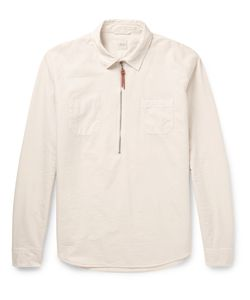 Albam   Pop Over Cotton Zip-Up Shirt White