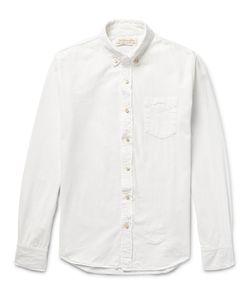 Remi Relief | Slim-Fit Bandana-Appliquéd Cotton Oxford Shirt White