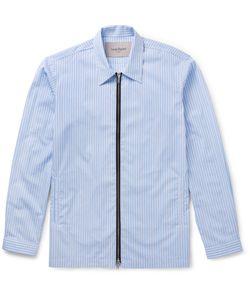 CASELY-HAYFORD | Dante Cotton-Poplin Zip-Up Shirt Blue