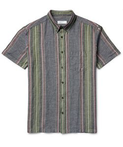 Several | Arundell Striped Nep Cotton And Linen-Blend Shirt Blue