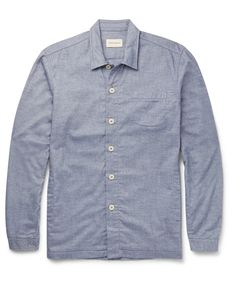 Oliver Spencer Loungewear | Lux Cotton-Chambray Overshirt Blue