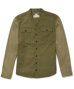 Blackmeans | Slim-Fit Two-Tone Cotton-Drill Overshirt Green