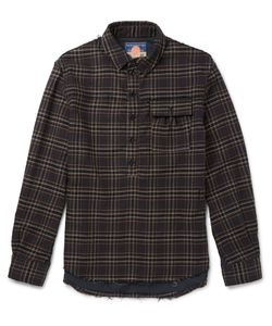 Blackmeans | Checked Cotton-Flannel Shirt Gray