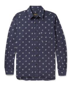 Freemans Sporting Club | Patterned Cotton Shirt Blue