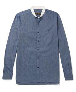 Freemans Sporting Club | Grandad-Collar Striped Cotton Shirt Blue