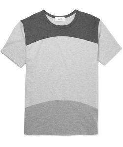 Aloye   Beams Panelled Cotton-Jersey T-Shirt Gray