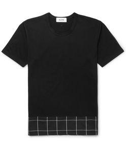 Aloye   Beams Checked Poplin-Panelled Cotton-Jersey T-Shirt Black