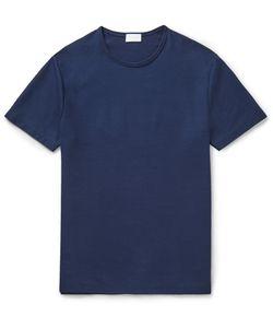 Handvaerk | Honeycomb-Knit Pima Cotton T-Shirt Blue