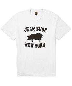JEAN SHOP | Printed Slub Cotton-Jersey T-Shirt White
