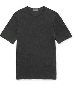 Kilgour | Slim-Fit Silk V-Neck T-Shirt Gray