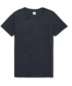 Albam   Slim-Fit Garment-Dyed Cotton T-Shirt Blue