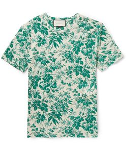 Gucci | Slim-Fit Floral-Print Cotton T-Shirt Green