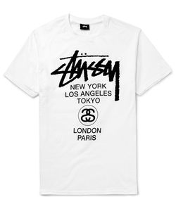 Stüssy | World Tour Printed Cotton-Jersey T-Shirt White