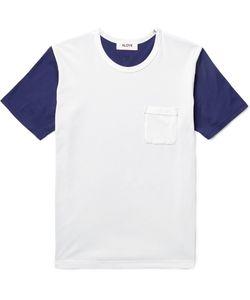 Aloye | Two-Tone Cotton-Jersey T-Shirt Blue