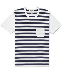 Aloye | Striped Cotton-Jersey T-Shirt Blue