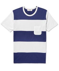 Aloye   Striped Cotton-Jersey T-Shirt Blue