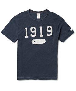 Todd Snyder + Champion | Printed Slub Cotton-Jersey T-Shirt Blue
