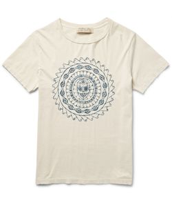 Remi Relief | Embroidered Cotton-Jersey T-Shirt Neutrals