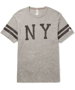 Todd Snyder + Champion | Slim-Fit Printed Mélange Cotton-Jersey T-Shirt Gray